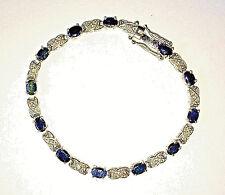925 Sterling Silver 6 ct Sapphire Diamond Tennis Bracelet