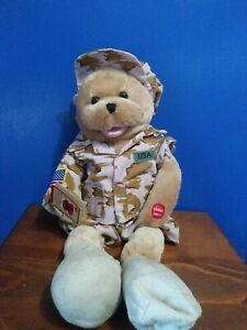 """Chantilly Lane American Military Heroes Soldier Bear sing God Bless the USA 20"""""""