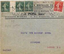 FRANCE Cover Paris 5c GUTTER STRIP {3} GB London *Aldevyck* 1912 {samwells} A212
