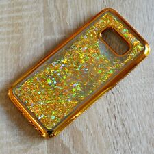Samsung Galaxy s8 brillo-funda oro líquido Liquid silicona-funda pedrería-Marco
