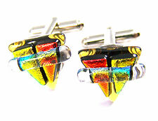 DICHROIC Fused GLASS Cuff Links Amber Gold Copper Layer Triangle Formal Wear Men