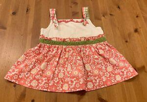 Matilda Jane Girls Sz 6 Pink Green White Swiss Dot Floral Top