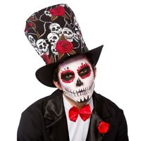 Day Of The Dead Top Hat Fancy Dress Mexican Halloween Skull Adults