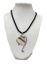 New big Mother of Pearl Heart chunky Pendant Necklace 925 Sterling Silver 18""