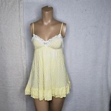 Victoria Secret white and yellow polka dot sleep slip chemise womans size small
