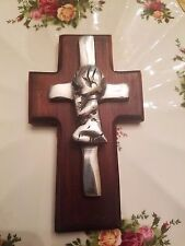 First communion Wooden Cross Beautiful HAND MADE WOODEN WITH SILVER EMblem