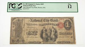 1865 National Bank Note City bank Boston Ch #609 PCGS Fine 12 Fr #380