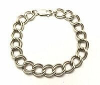 Vintage Oxidized Sterling Silver 925 Double Circle Rolo Link Chain Bracelet 7''