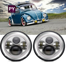 7inch Chrome LED Headlights Upgrade Hi/Low Beam round Kit for VW Beetle Classic