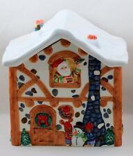 Santa Cookie Jar Christmas Workshop Elves 10 Inch Tall