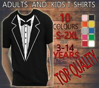 TUXEDO FANCY DRESS FUNNY MEN WOMEN KIDS T SHIRT TEE , ADULTS PARTY STAG HEN