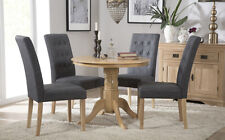 Kingston Round Oak Dining Room Table and 4 Regent Fabric Chairs Set - Slate