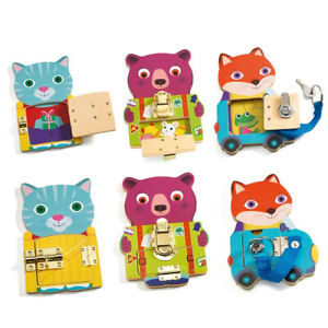 Djeco Locktou - Toddler Key and Latch Kids Wooden Toy To Develop Motor Skills