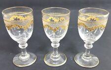 3 Fußbecher, Glas, Ätzdekor, Saint Louis, Frankreich, um 1900 AL652