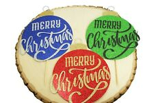 "Merry Christmas Glitter Card Stock Ornament Design Cake Topper 6"" Choose Color"