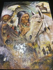 """Bits and Pieces 300 Large piece puzzle """"Untold Memories"""" Native American theme"""