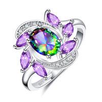 New Cluster Amethyst Rainbow White Blue Pink Topaz Gemstone Silver Ring Size 6-9