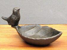 Cast Iron - Bird Sitting on Leaf Feeder Or Bath Rustic Brown Table Decor