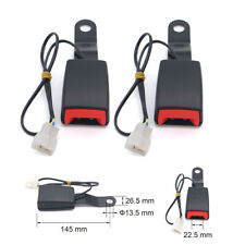 2Pcs Car Front Seat Belt Buckle Padding Socket Plug Connector w/ Warning Cable