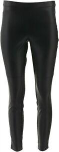 H Halston Petite Faux Stretch Leather Ponte Leggings Black 0P NEW A294047