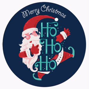 Round Merry Christmas vinyl label stickers 100 x 35mm labels (01B)