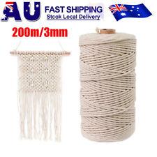 200m 3mm 100 Natural Cotton String Twisted Cord Craft Macrame Artisan Handmade