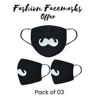 Black Face Masks Anti Dust & Viral UK Protection Washable Breathable 3x Mask