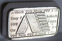 1981 A MARK ART BAR #A167 USVI VIRGIN ISLANDS .999 FINE SILVER 'BRICK' 1 TROY OZ