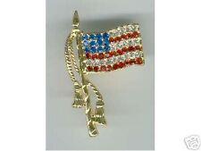 Patriotic, AMERICAN FLAG PIN, All Swarovski
