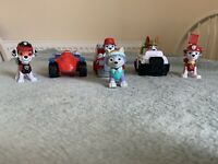 Paw Patrol Extras - Marshall & Everest Figures + Vehicles With Figures Stuck In