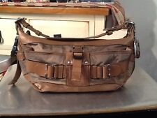 DKNY Brown Canvas Shouder Bag With Leather & Suede Trim