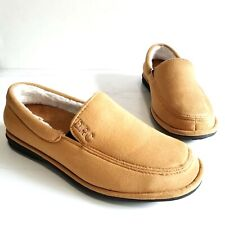 Dr Comfort Relax Tan Brown Faux Shearling Lined Comfort Slippers Shoes Mens 10 W