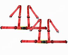 AU PAIR RED 3 4 POINT RACING SEAT BELT HARNESS CAR/TRACK DAY/OFF ROAD BUGGY