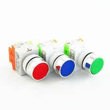 3 PCS Red/BLUE/GREEN 22mm START/STOP No Lamp Push Button Switch 120/240V 10 AMP