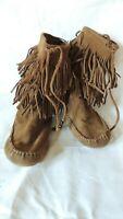 Vintage Minnetonka Moccasins Brown Fringe Suede Leather Boots Size 5