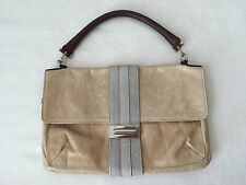 LANVIN Tan Leather with Grey and Brown Accent. Silver Hardware Bag Handbag Purse