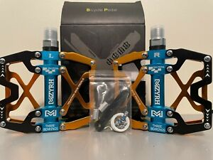 "MZYRH 9/16"" Pedals Cycling Mountain MTB - BMX Bike 3 Bearing BLACK/BLUE/GOLD"