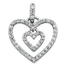 """14K Solid White Gold 0.25 Ct Diamond Two Hearts Love Pendant Charm 5/8""""  1.3 gr"""