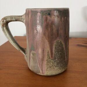 "Charles Greber Studio Pottery Tankard Mug Drip Glaze Signed Height 5"""