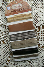Mixed RIBBON TRIM - 6 Brown Styles Ea 26 inches / 65cm Long TLR-10 PRIMA