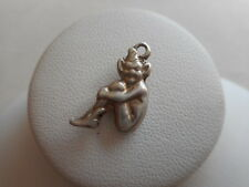 Rare Vintage PIxie Elf Holding Knees Sterling Silver Charm  RE26