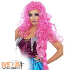 Pink Repulsive Rapunzel Wig Ladies Fancy Dress Fairy Tale Halloween Costume Acc