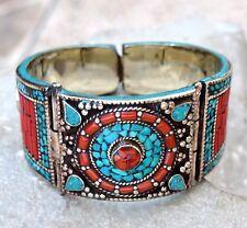 Tibetan Silver Nepali Bracelet Turquoise Coral Ethnic Bangle Boho Jewelry Gypsy