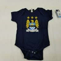 Blue//White, 9 to 12 Months Manchester City Football Club Baby Boys 2 Pack Short Sleeved Bodysuit
