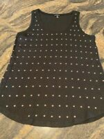 Express Women's Size XS Black Sleeveless Tank Top With Rose Gold Studs
