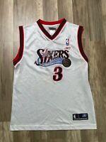 Auth Vtg Reebok NBA Philadelphia 76ers Sixers #3 Allen Iverson Jersey Sz Yth L