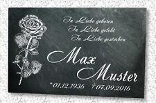 Grabstein Gedenktafel mit Wunsch Gravur auf Schieferstein Motiv Rose (N)