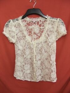 GHARANI STROK LONDON Lacey top floral design crystal style button UK 10 (4)