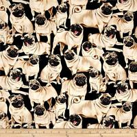Fabric Dogs Pug on Black Timeless Treasures Cotton 1/4 Yard 2488
