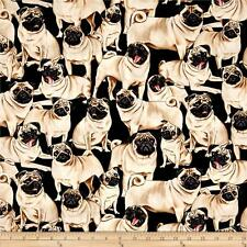 Fabric Dogs Pug on Black Cotton By The 1/4 Yard BIN